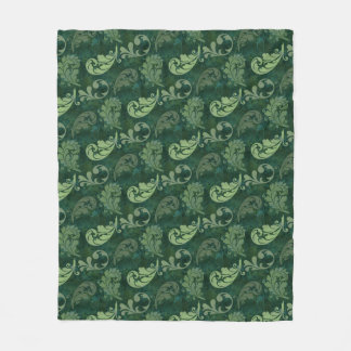 Green, Feather, Quill, Feathers, Elegant, Lush Fleece Blanket