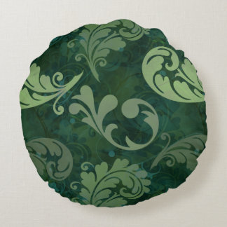 Green, Feather, Quill, Feathers, Elegant, Lush Round Pillow