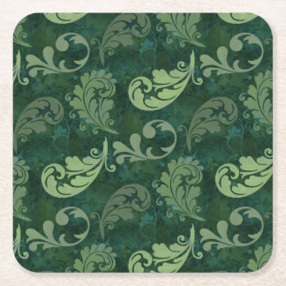 Green, Feather, Quill, Feathers, Elegant, Lush Square Paper Coaster