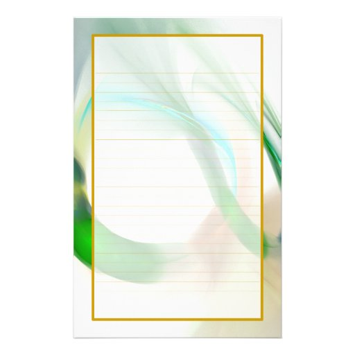 Green Feather Rings Fine Lined Stationery