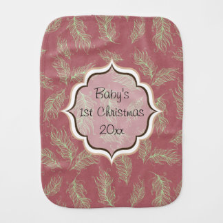 Green Feathers Red Holiday Christmas Burp Cloth