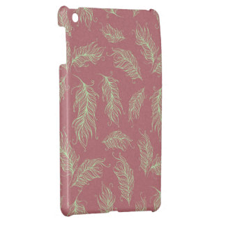 Green Feathers Red Holiday Christmas Case For The iPad Mini