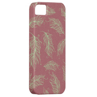 Green Feathers Red Holiday Christmas Case For The iPhone 5