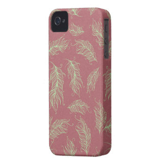 Green Feathers Red Holiday Christmas iPhone 4 Cases
