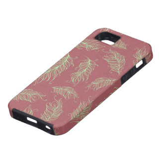 Green Feathers Red Holiday Christmas iPhone 5 Cases