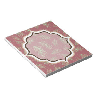 Green Feathers Red Holiday Christmas Notepad