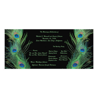 Green Feathers with Black Wedding Program Rack Card Design