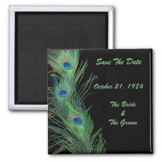 Green Feathers with Black Wedding Save the Date Square Magnet