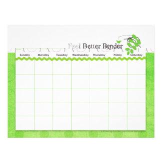 Green Feel Better Binder Calendar Flyer