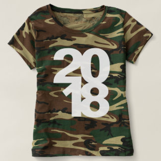 Green Feminine camouflage Happy New Year 2018 T-shirt