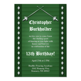 "Green Fencing Birthday Party Invitation 5"" X 7"" Invitation Card"