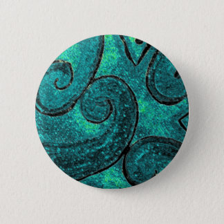 Green fern frond NZ Koru, piko piko or fiddlehead 2 Inch Round Button