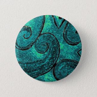 Green fern frond NZ Koru, piko piko or fiddlehead 2 Inch Round Button
