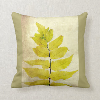 Green fern grunge cushion. throw pillow