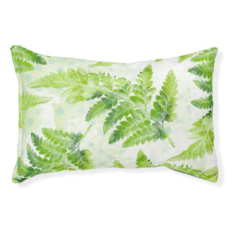 Green Fern Leaves Botanical Watercolor Throw Pet Bed