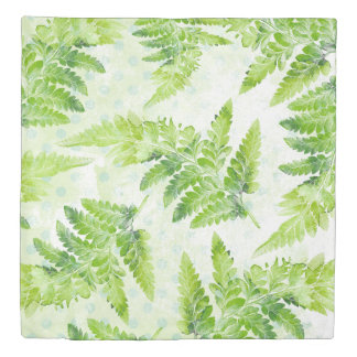 Green Fern Leaves Modern Botanical Watercolor Duvet Cover