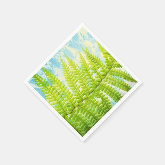 Green Fern leaves, wedding paper napkin