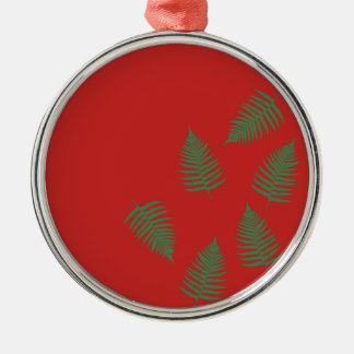 Green Fern Lucky Holiday Red Ornament