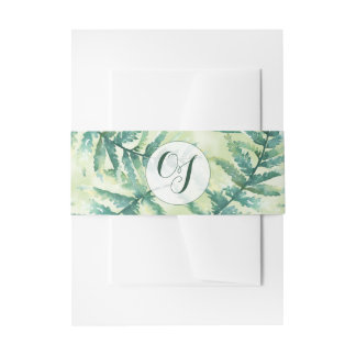 Green Fern Monogram Watercolor Belly Bands Invitation Belly Band