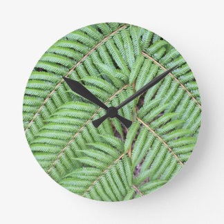 Green fern New Zealand Round Clock