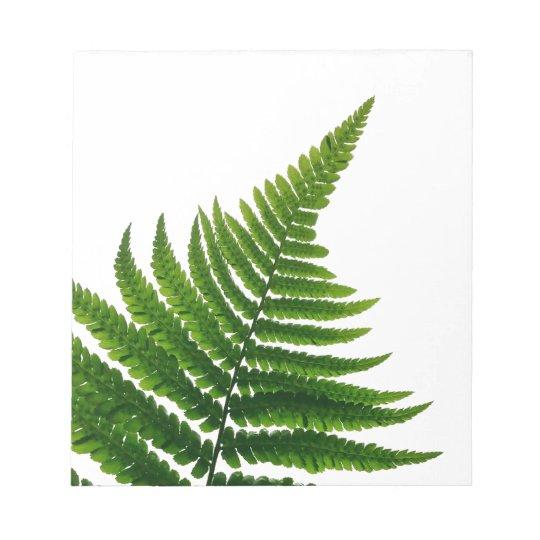 Green Fern prints Woodlands Leaf Notepad