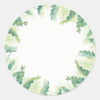 Green Fern Watercolor Blank Wedding Favor Stickers