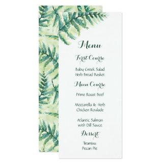 Green Fern Watercolor Menus Card