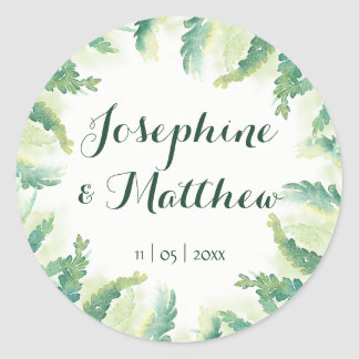 Green Fern Watercolor Personalized Wedding Classic Round Sticker
