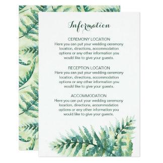 Green Fern Watercolor Wedding Information Cards