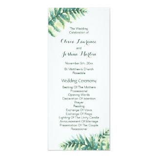 Green Fern Watercolor Wedding Programs
