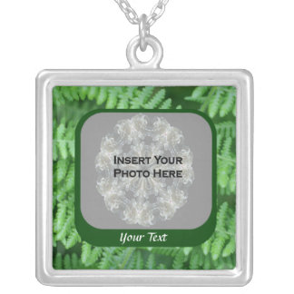 Green Ferns Design Photo Silver Plated Necklace