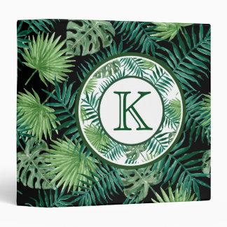 Green Ferns Monogram 3 Ring Binders