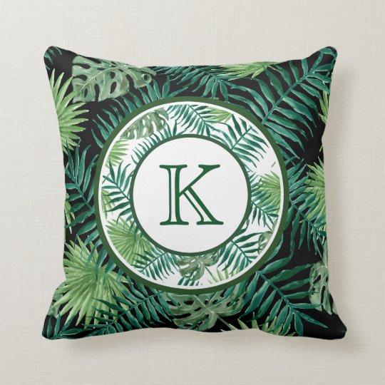 Green Ferns Monogram Throw Pillow
