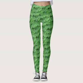 Green Ferns Nature Pattern Leggings