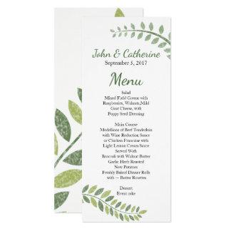 Green Ferns Wedding Menu Card