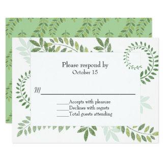 Green Ferns Wedding RSVP Card