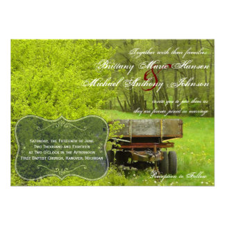 Green Field and Trees Country Wedding Invitations