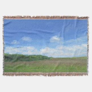 Green Field Blue Sky Throw Blanket