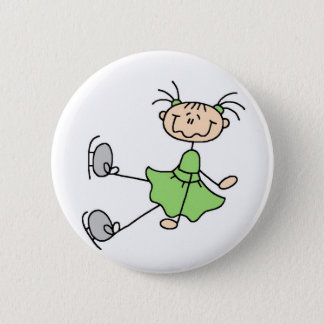 Green Figure Skater Button