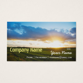 Green Filed Blue Sky White Cloud Nature Farm Business Card