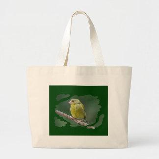 Green Finch - green finch - Verdier photo JL Large Tote Bag