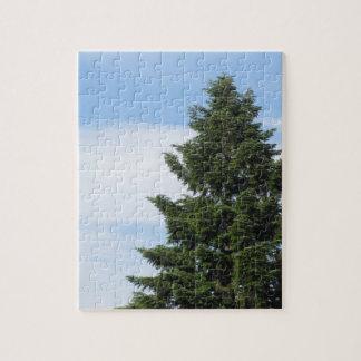 Green fir tree against a clear sky jigsaw puzzle