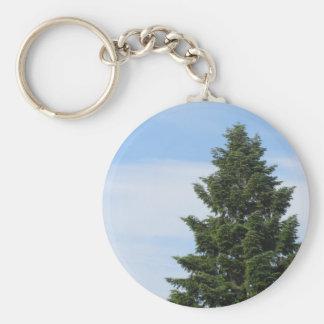 Green fir tree against a clear sky keychain