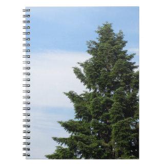 Green fir tree against a clear sky notebook