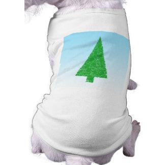 Green Fir Tree. On Blue - White. Christmas. Pet Tee