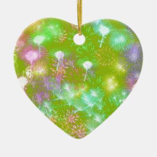 Green Fireworks Ceramic Heart Ornament