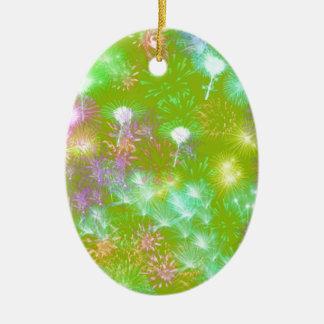 Green Fireworks Ceramic Oval Ornament