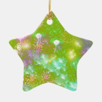 Green Fireworks Ceramic Star Ornament