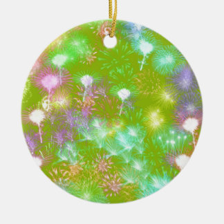 Green Fireworks Round Ceramic Ornament