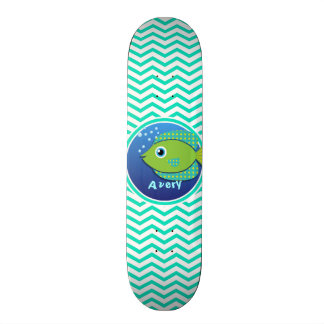 Green Fish; Aqua Green Chevron Skate Board Decks